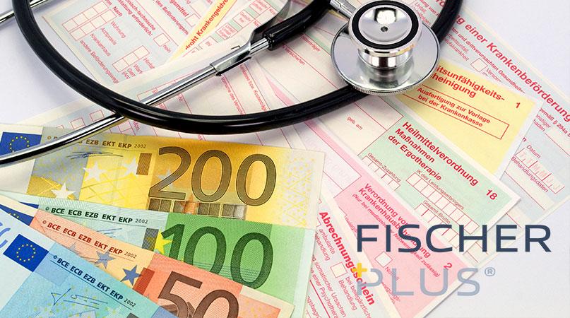 Stethoskop falsche ärztliche Bescheinigung bei Lohnfortzahlungsbetrug und mehrere Geldscheine